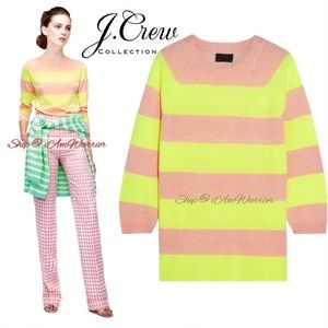 J.Crew Collection neon striped cashmere sweater
